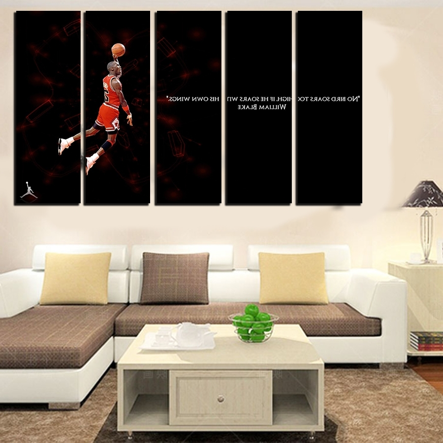 Most Recent 5 Pcs For Michael Jordan Large Seaview With Frame Canvas Print For Large Framed Canvas Wall Art (View 3 of 15)