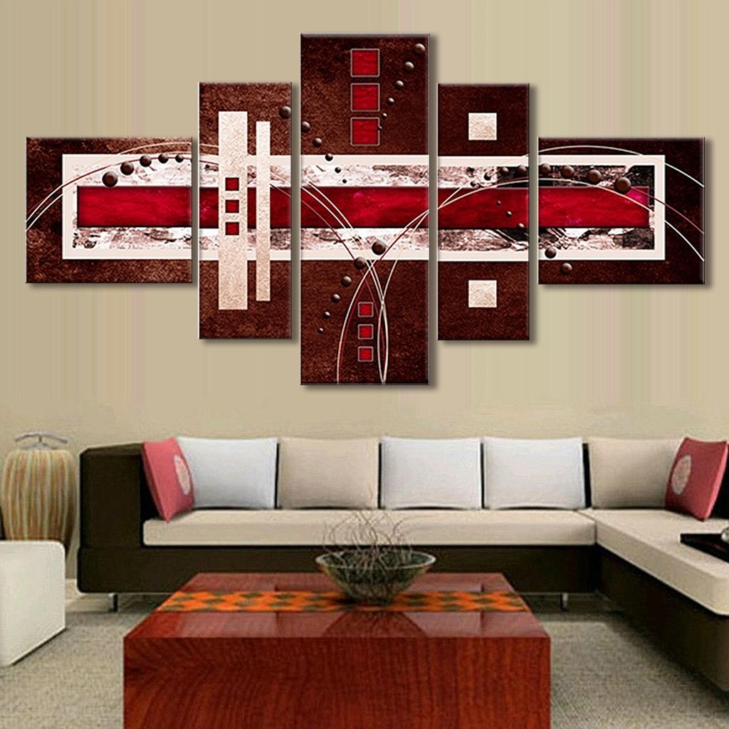 Most Recent 5 Pcs/set Combined Modern Abstract Oil Painting Brown Red Cream Throughout Red Canvas Wall Art (View 6 of 15)