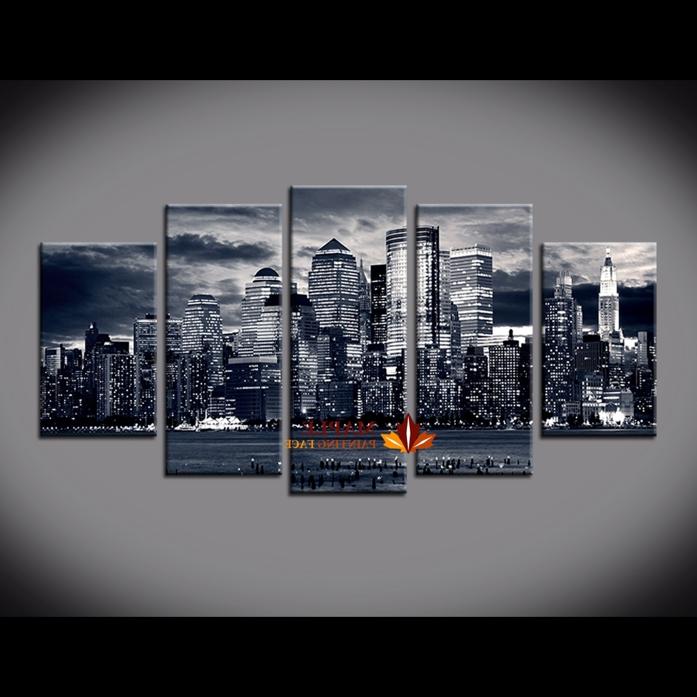 Most Recent 5 Piece Wall Art Pertaining To 5 Piece Painting New York City Buildings On Canvas From Oil Artwork (View 8 of 15)
