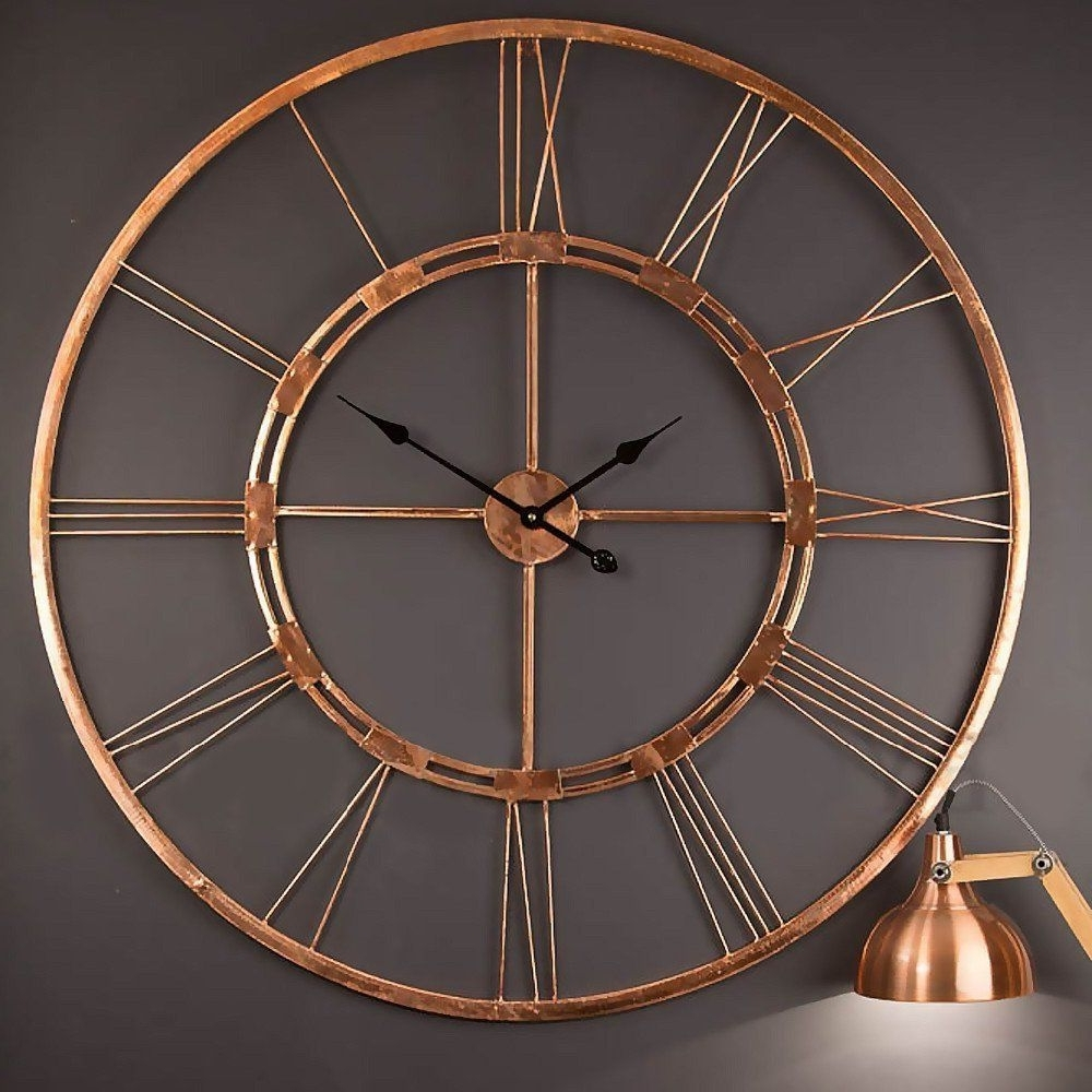 Most Recent Amazonsmile: Handmade Large Copper Color Metal Wall Clock Metal Wall With Copper Wall Art (View 5 of 15)