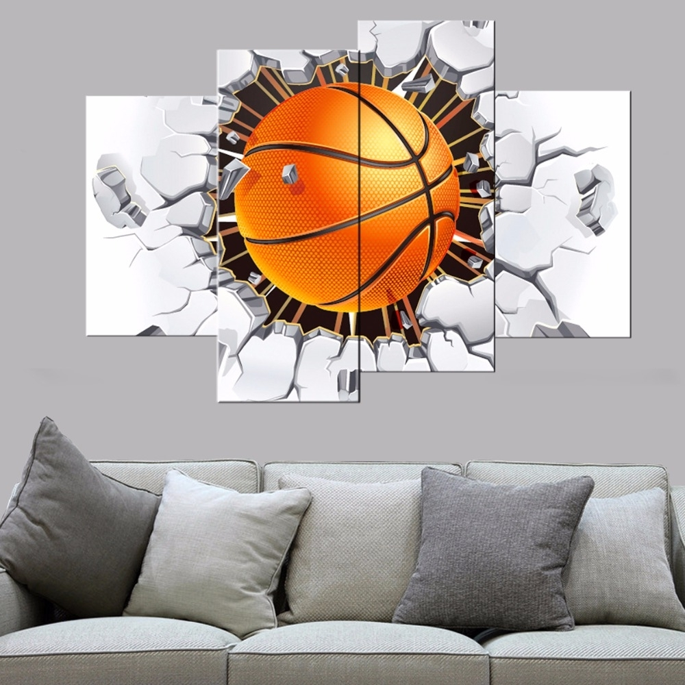 Most Recent Basketball Wall Art For 4 Pcs Modern Basketball Canvas Print Poster Bedroom Wall Art Canvas (View 4 of 15)