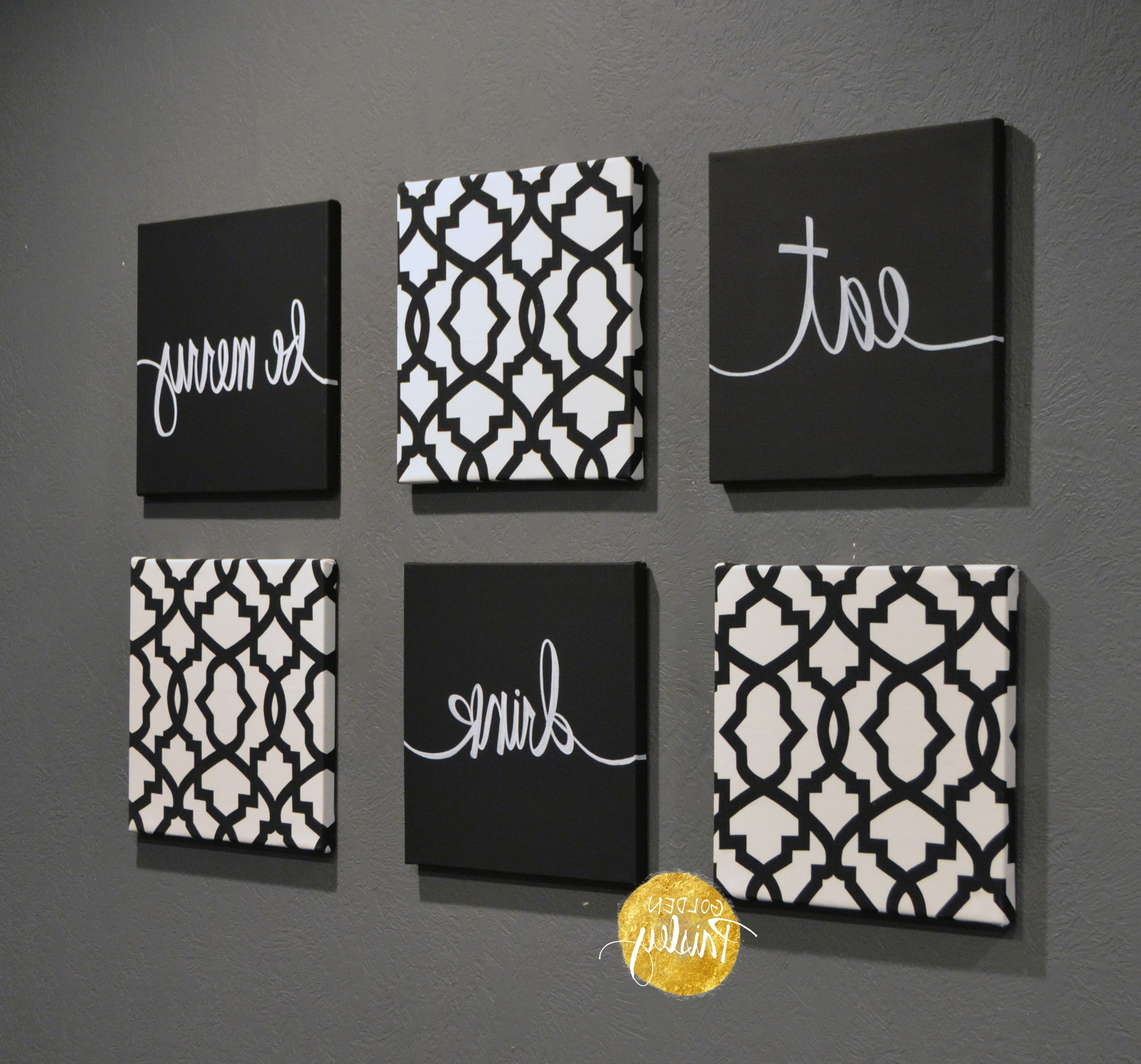 Most Recent Black And White Trellis 6 Pack Wall Art Inside Black Wall Art (View 13 of 15)