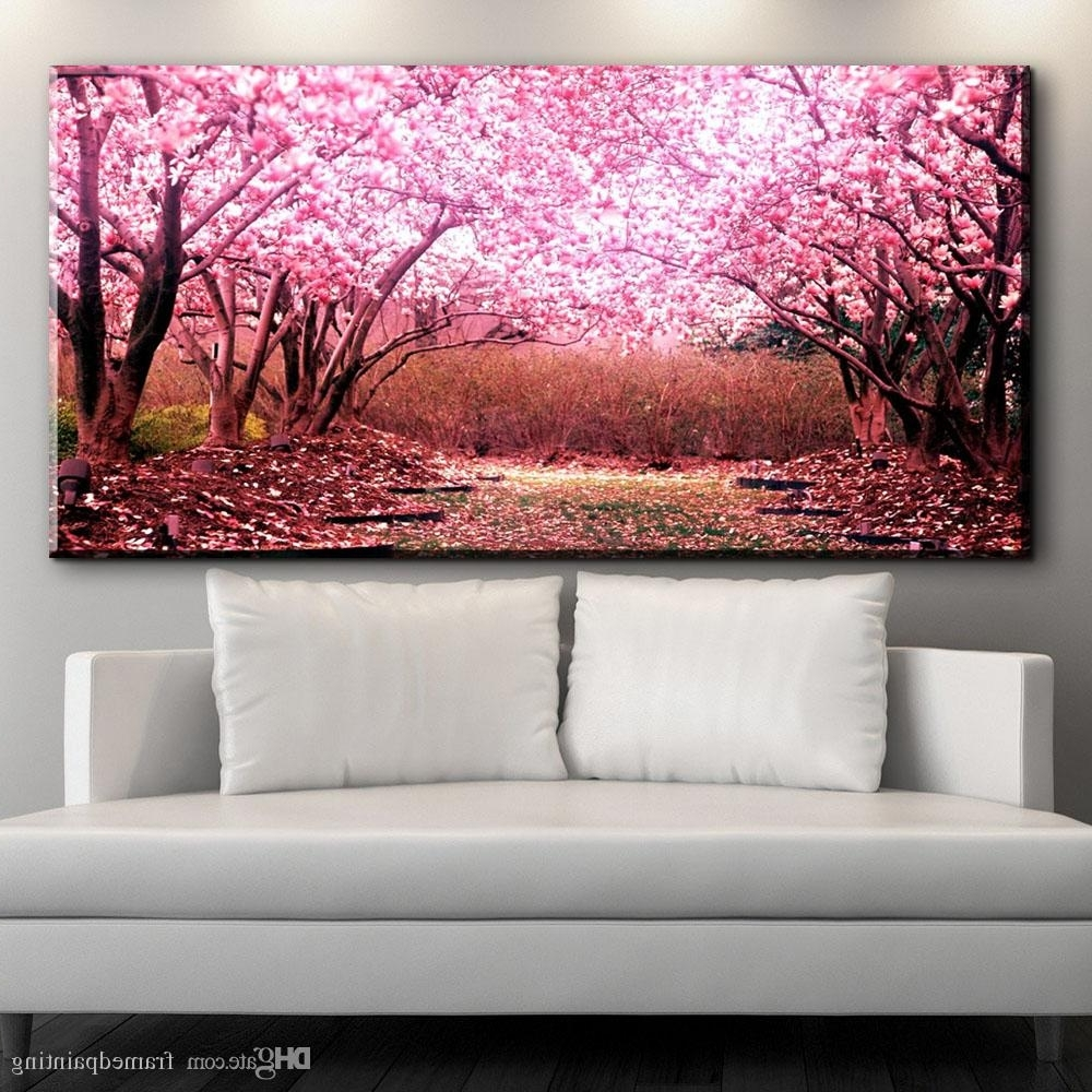 Most Recent Cherry Blossom Wall Art With 2018 Modern Decorative Canvas Art Beautiful Cherry Blossoms Flower (View 7 of 15)