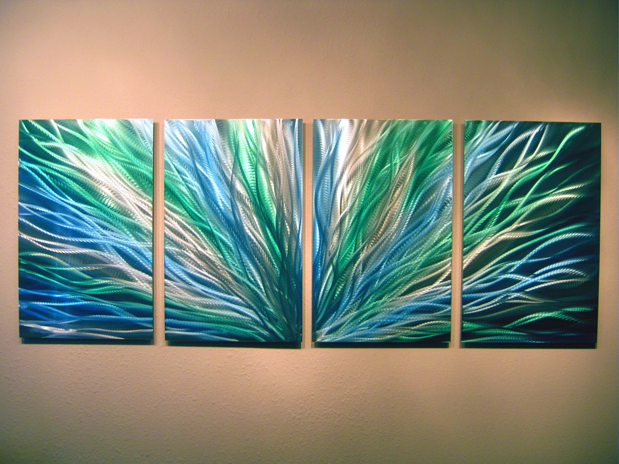Most Recent Contemporary Wall Art Throughout Radiance Blue Green Abstract Metal Wall Art Contemporary Modern (View 7 of 15)