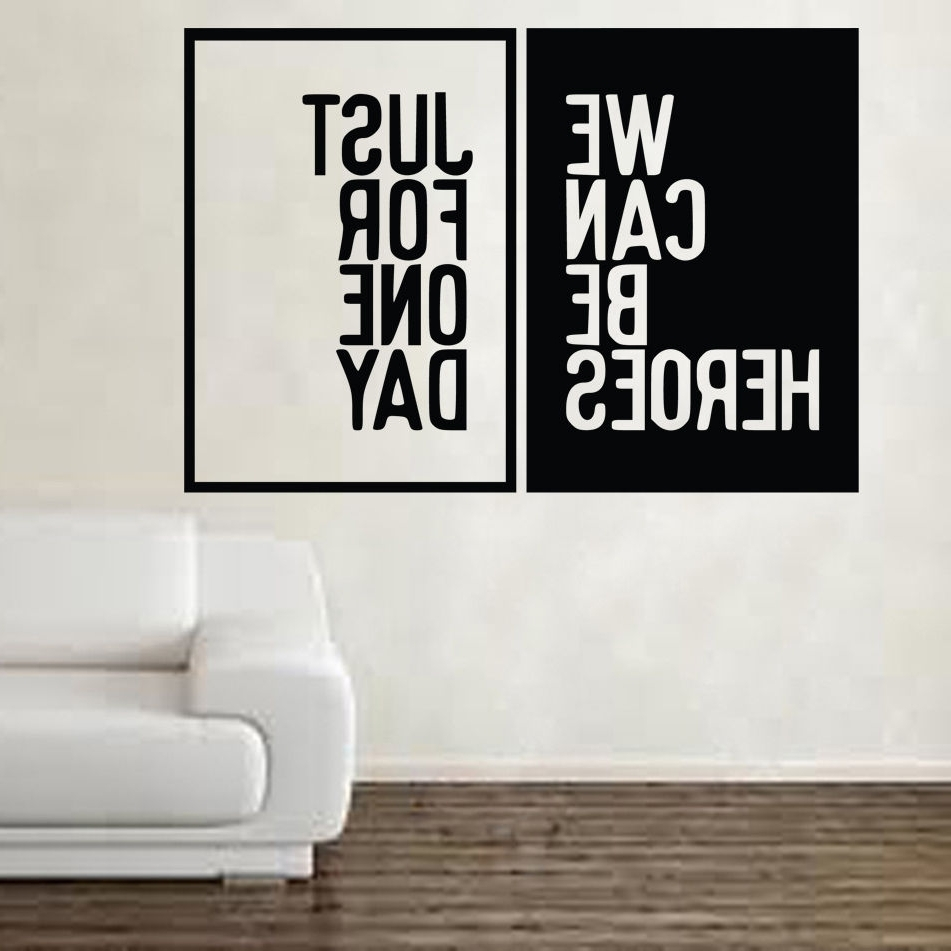 Most Recent David Bowie Heroes Song Music Lyrics Wall Sticker Art Free Shipping With Regard To Song Lyric Wall Art (View 10 of 15)