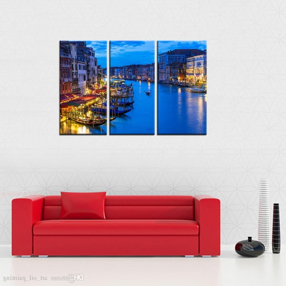 Most Recent Discount Wall Art With Buy Cheap Paintings For Big Save, 3 Panels Venice Night View Canvas (View 8 of 15)