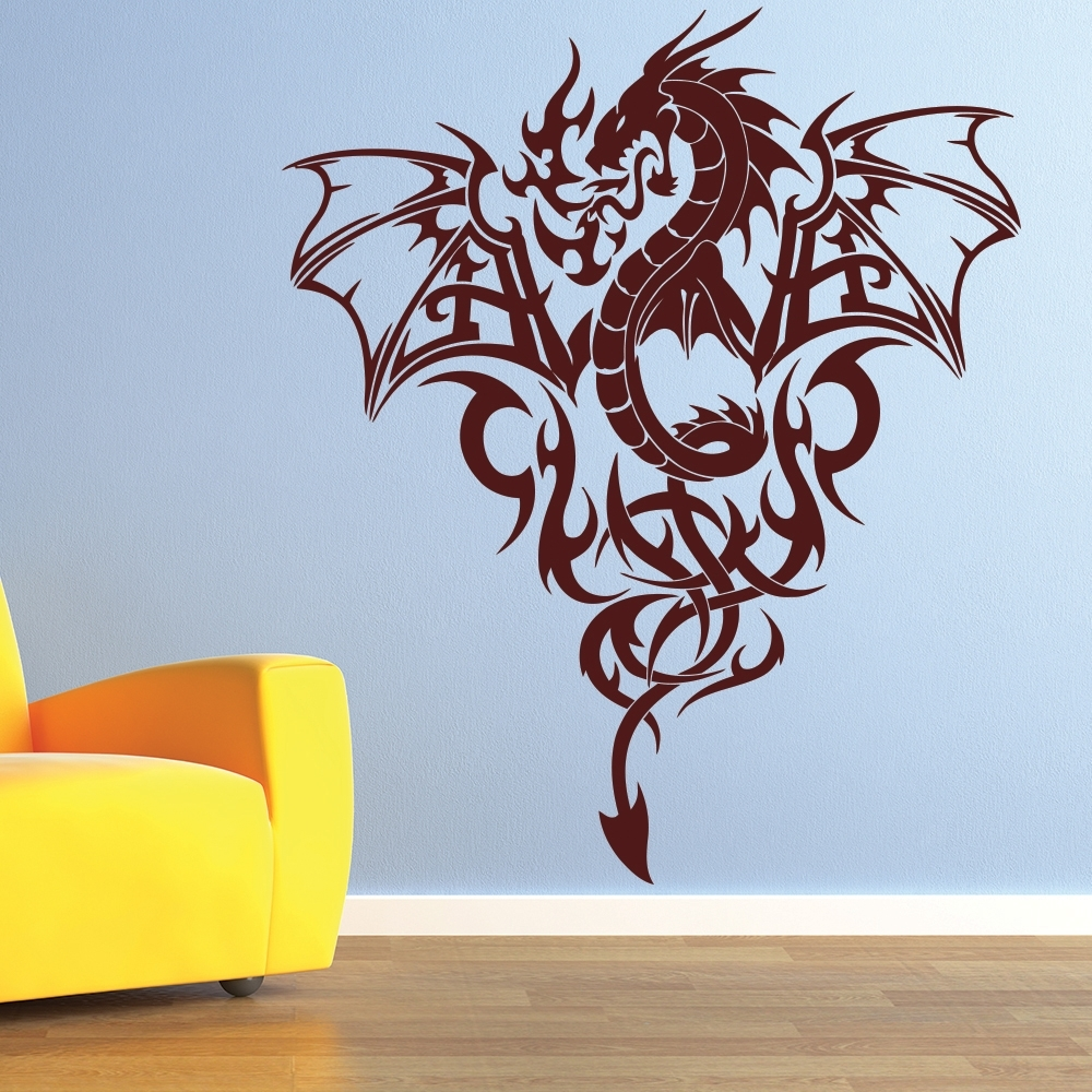 Most Recent Dragon Wall Art With Regard To Fire Dragon Wall Sticker Tribal Monster Wall Decal Boys Bedroom Home (View 6 of 15)