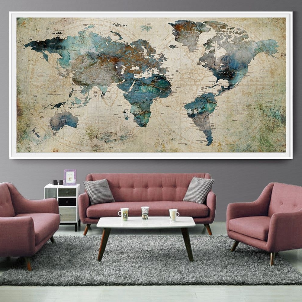 Most Recent Extra Large Wall Art With Extra Large Wall Art Push Pin World Map Art Print, Large Wall Decor (View 11 of 15)