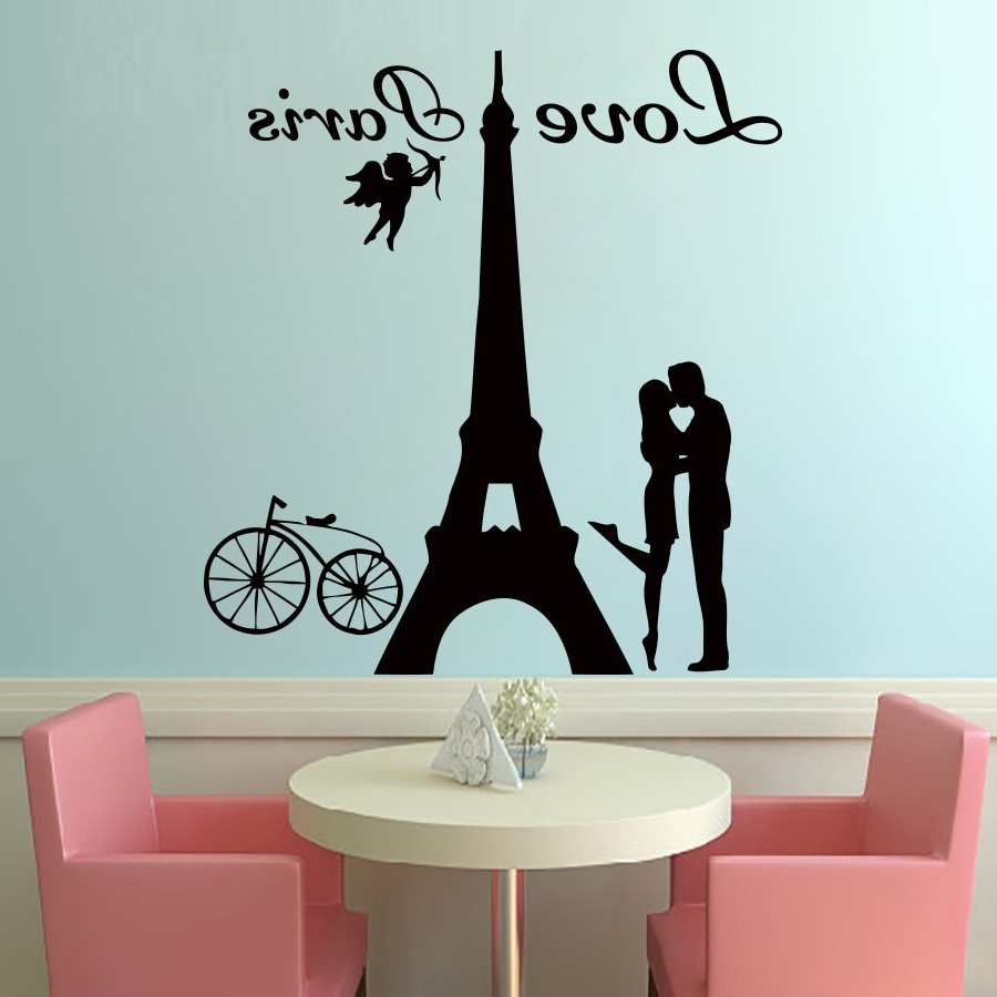 Most Recent Free Shipping Angels Love Paris Wall Decals Lover Kissing And Bike For Paris Wall Art (View 3 of 15)