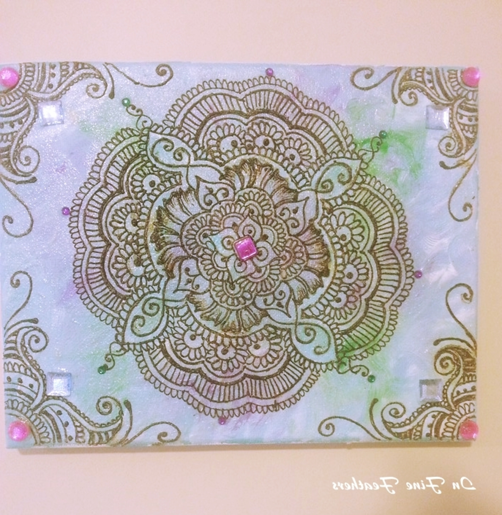Most Recent Henna Mandala Boho Chic Wall Art Yoga Studio Office Spring Decor With Henna Wall Art (View 5 of 15)