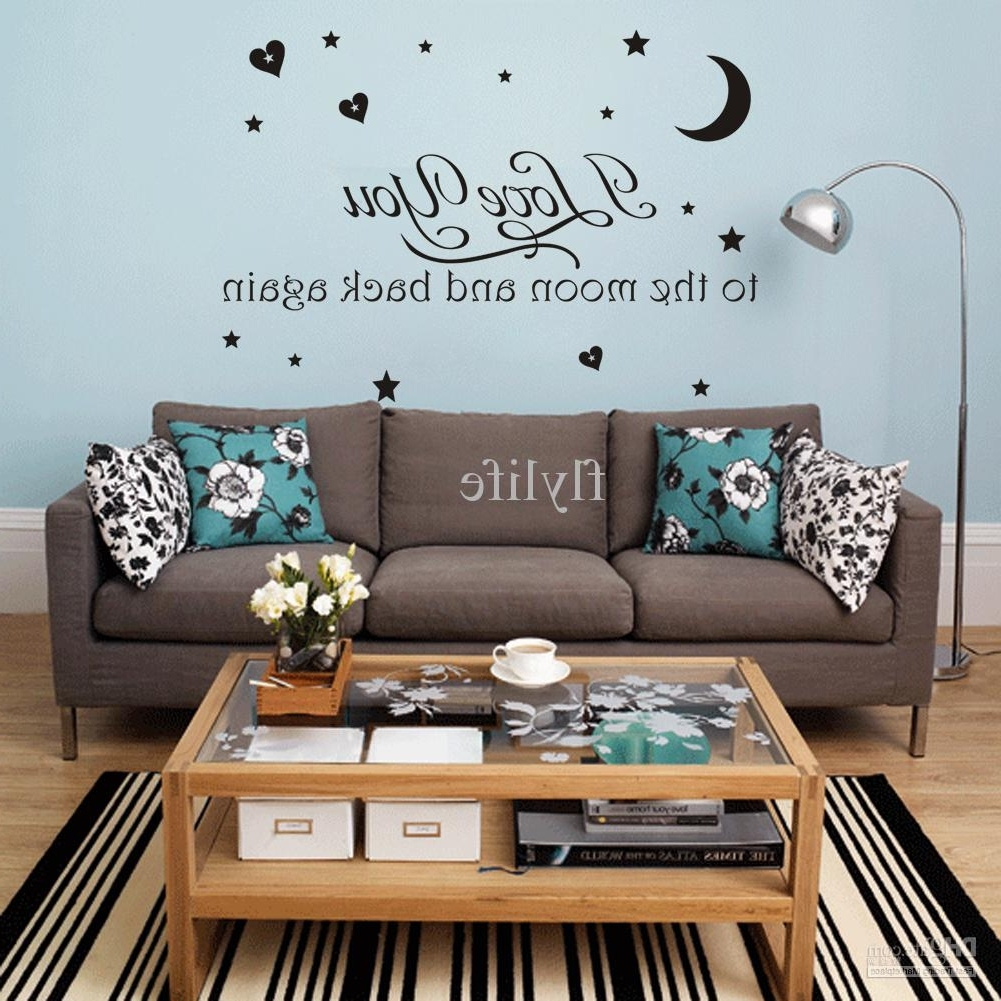 Most Recent I Love You Moon And Back Again Vinyl Wall Stickers Quotes Home Decor For I Love You To The Moon And Back Wall Art (View 10 of 15)
