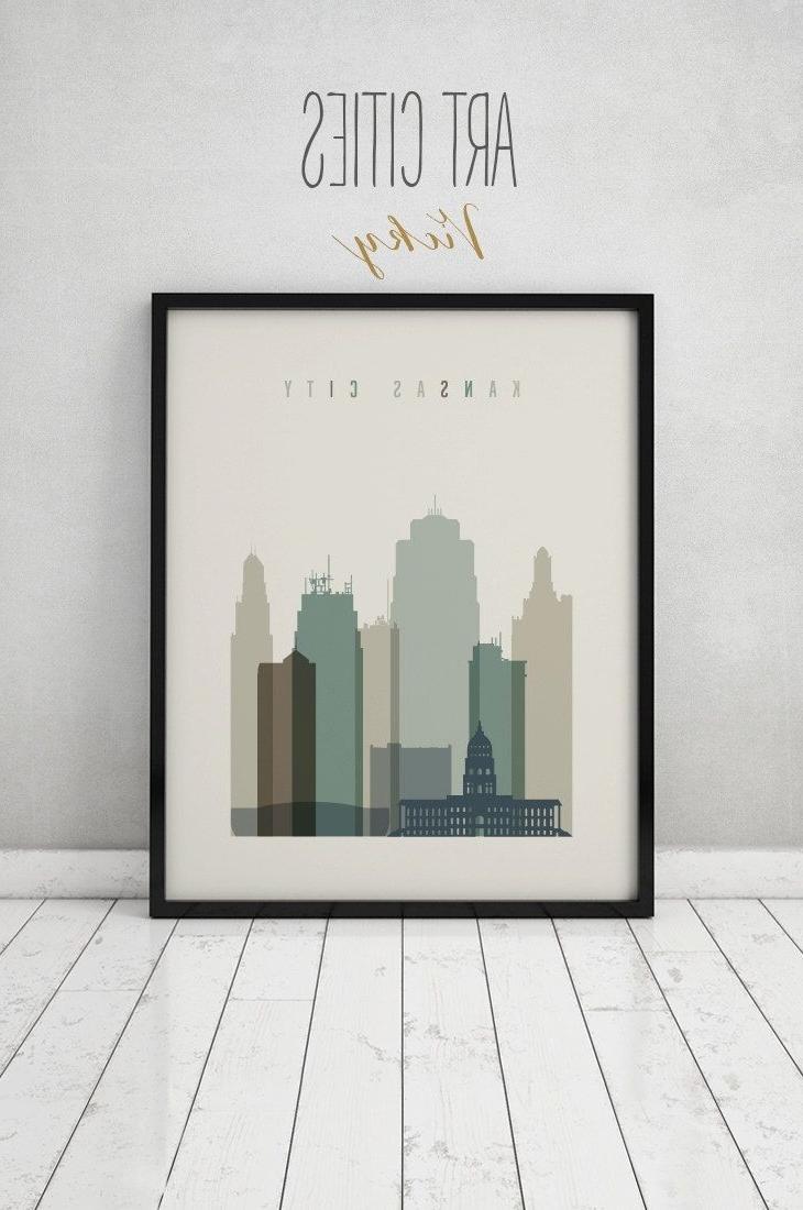 Most Recent Kansas City Print, Wall Art, Kansas City Skyline, Kansas City Poster Regarding Kansas City Wall Art (View 4 of 15)