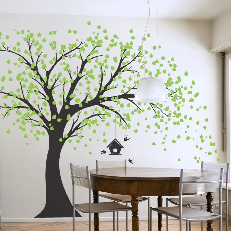 Most Recent Large Windy Tree With Birdhouse Wall Decal – Gabc Inside Tree Wall Art (View 6 of 15)