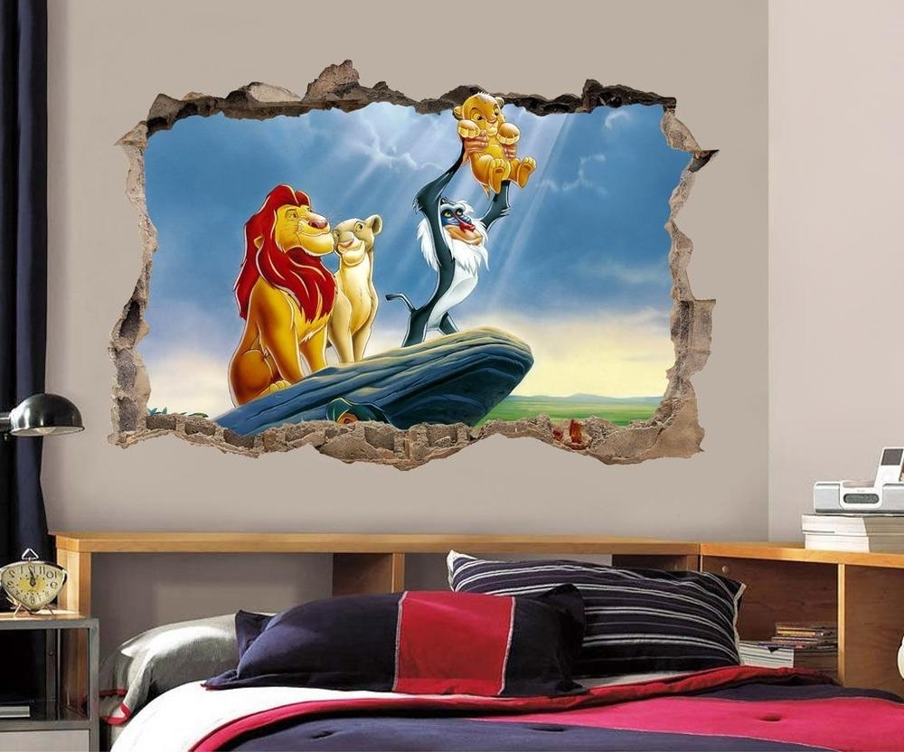 Most Recent Lion King Simba Smashed Wall Decal Graphic Wall Sticker Decor Art Intended For Lion King Wall Art (View 7 of 15)