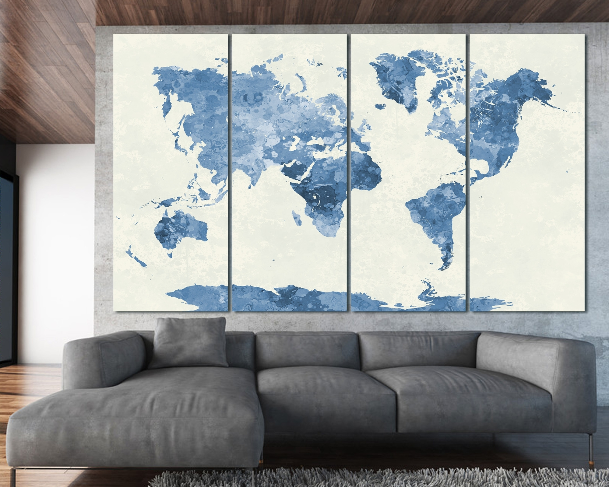 Most Recent Navy Blue Watercolor World Map Print At Texelprintart With Regard To Navy Blue Wall Art (View 7 of 15)