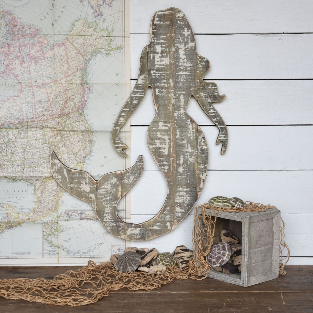Most Recent Sea Life Wall Art Within Homart Wood Slat Sealife Mermaid Wall Art – Areohome (View 3 of 15)