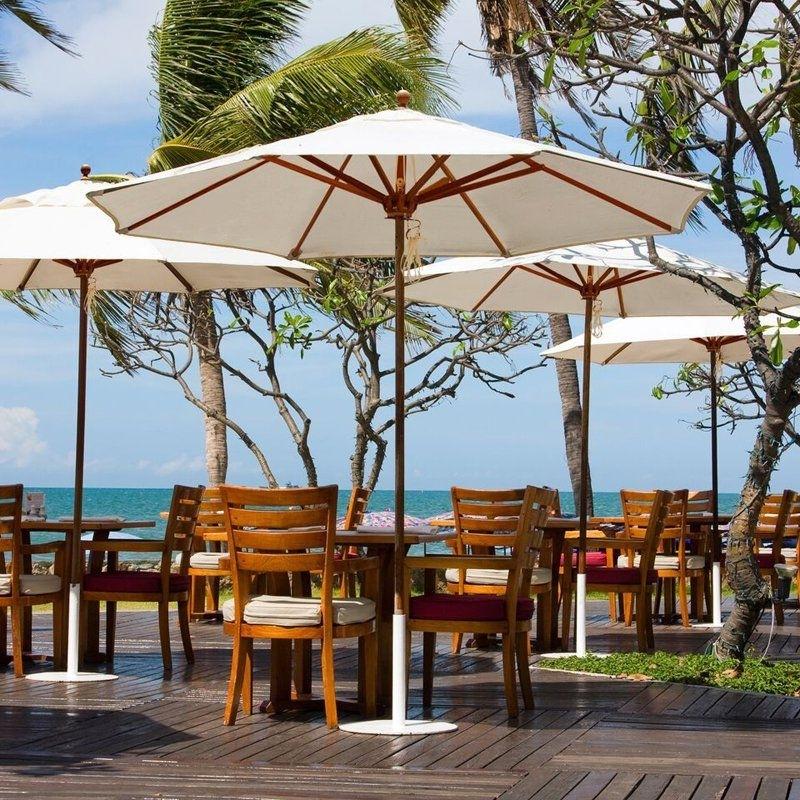 Most Recent Sunbrella Teak Umbrellas For Poolside Umbrellas Galtech 9 Ft Designer Teak Sunbrella Patio (View 15 of 15)