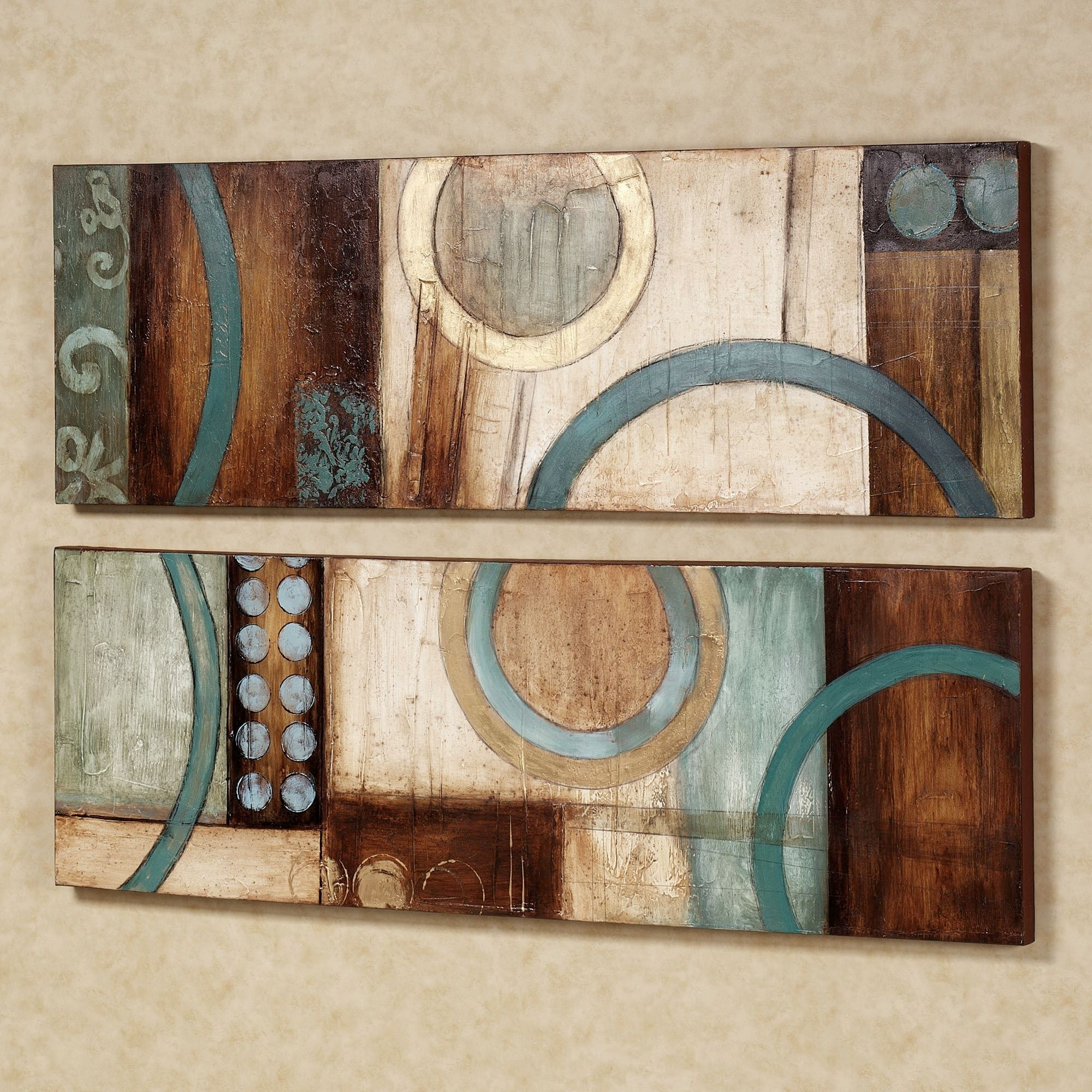 Most Recent Teal And Brown Wall Art In Lavare Canvas Wall Art Set (View 2 of 15)