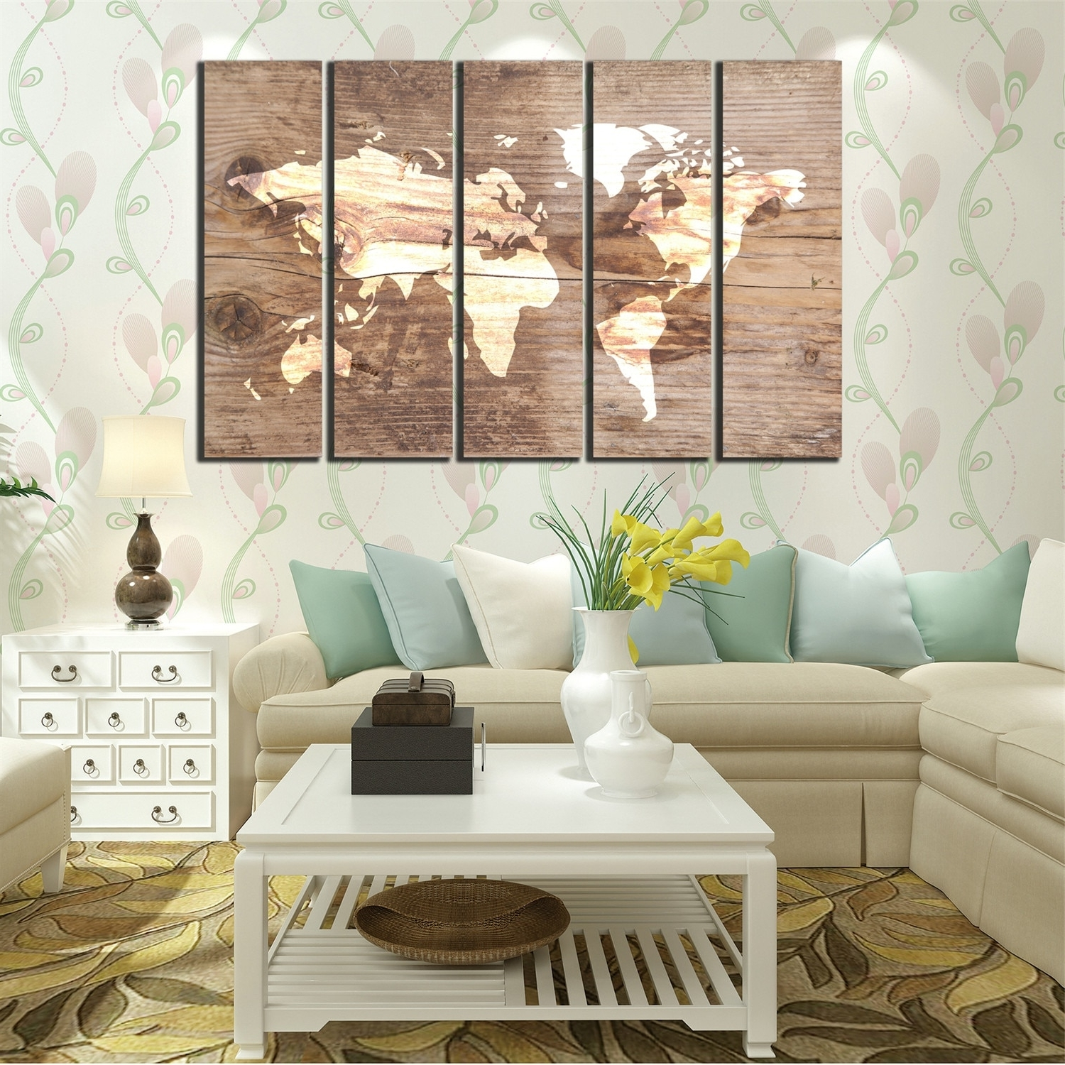 Most Recent Wall Art Canvas Oil Painting Blue And White World Map Poster 5 With Vintage Map Wall Art (View 14 of 15)