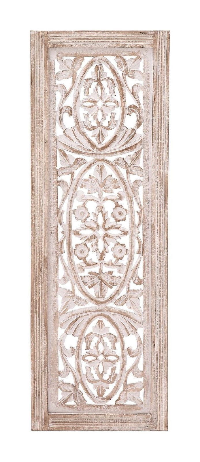 Most Recent White Washed Carved Wood Wall Art Panel Shabby Country Cottage Chic With Regard To Carved Wood Wall Art (View 14 of 15)
