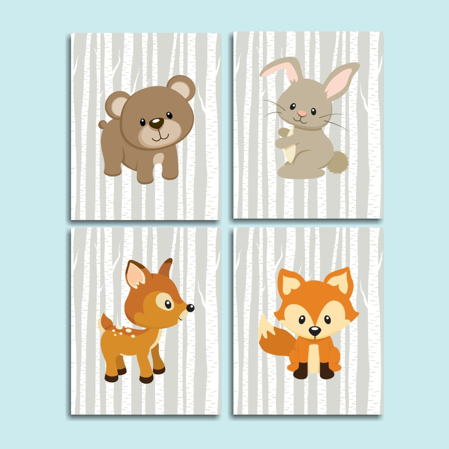 Most Recent Woodland Nursery Wall Art Throughout Woodland Nursery Wall Art Woodland Nursery Decor Forest Animals Wall (View 5 of 15)
