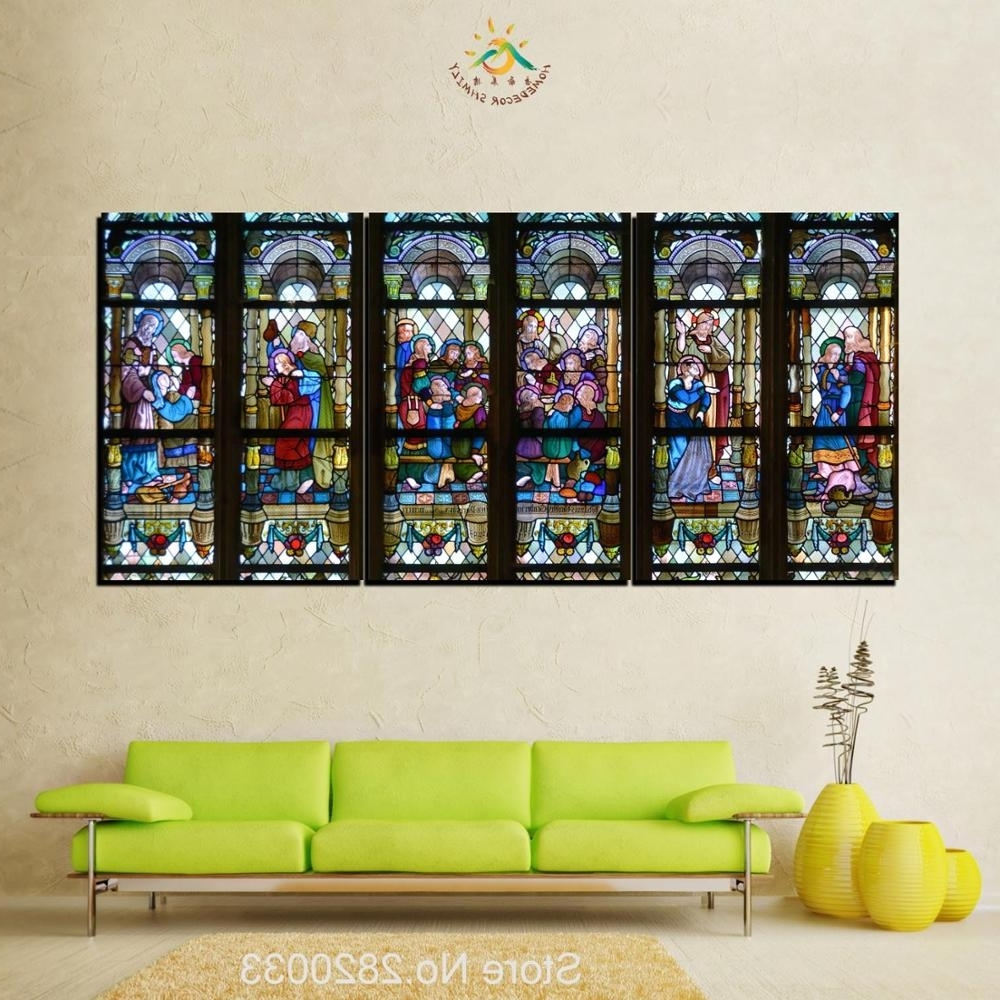 Most Recently Released 3 Piece Christian Stained Glass Style Flower Glass Canvas Wall Art With Stained Glass Wall Art (View 7 of 15)