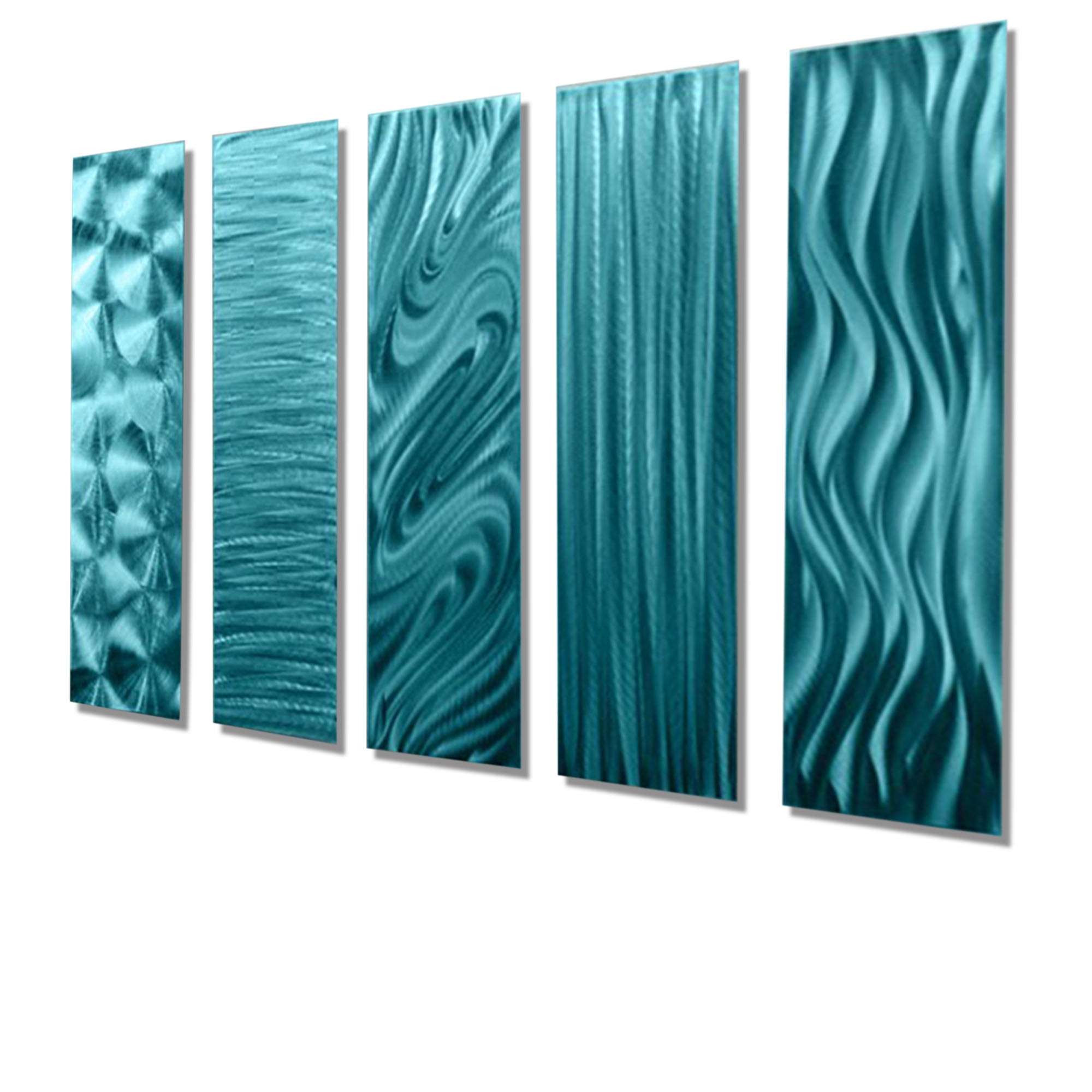 "Most Recently Released 5 Easy Pieces Aqua – Set Of Five 24"" X 6"" Metal Wall Art Accents Intended For Contemporary Wall Art (View 10 of 15)"