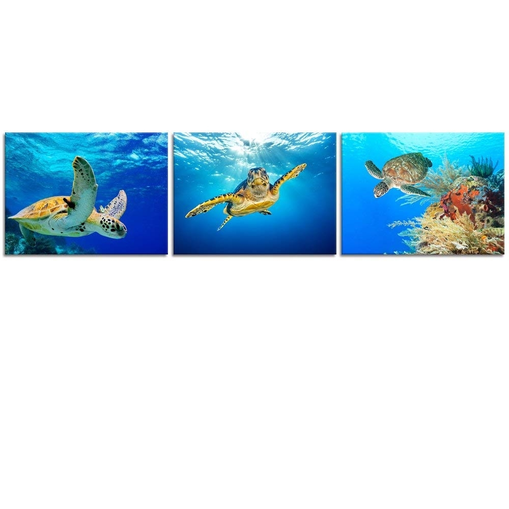 Most Recently Released Amazon: Animal Canvas Wall Art Decor Swimming Turtle Canvas With Sea Turtle Canvas Wall Art (View 3 of 15)