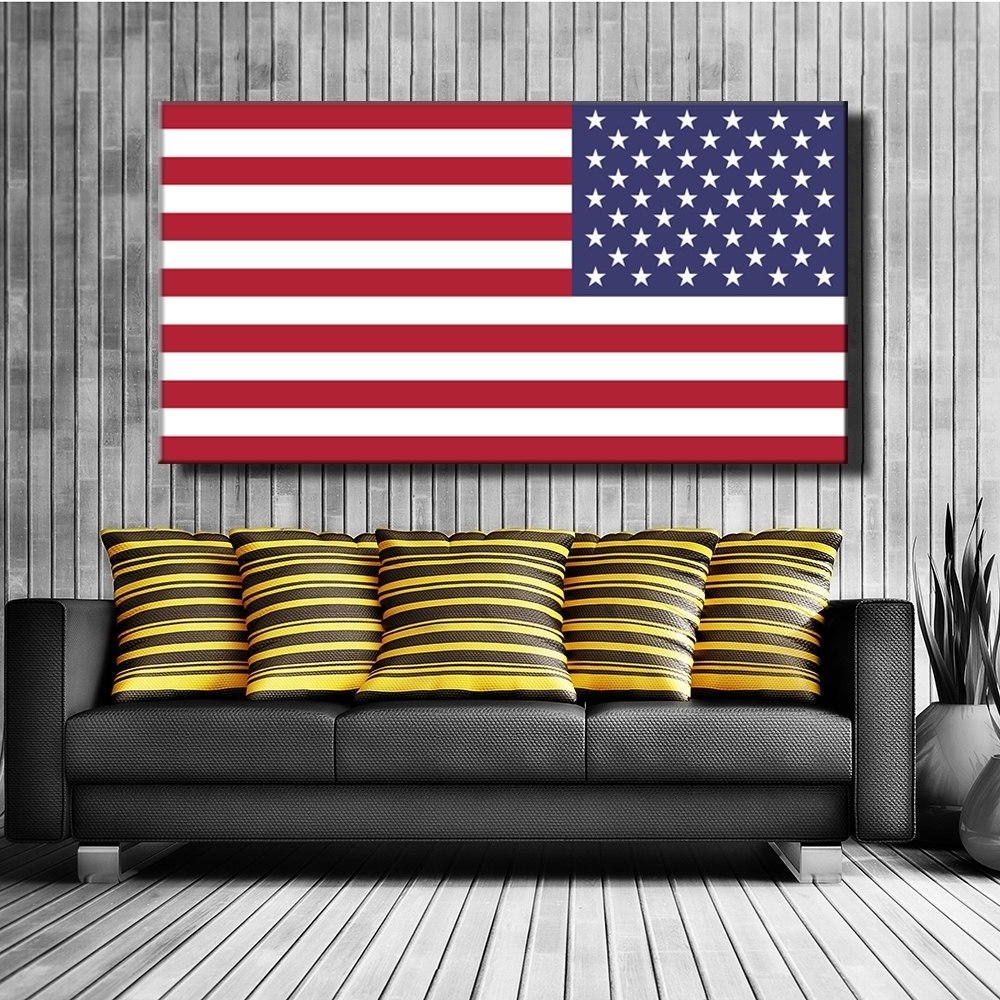 Most Recently Released American Flag Canvas Print Painting Poster Wall Art Picture For With American Flag Wall Art (View 10 of 15)