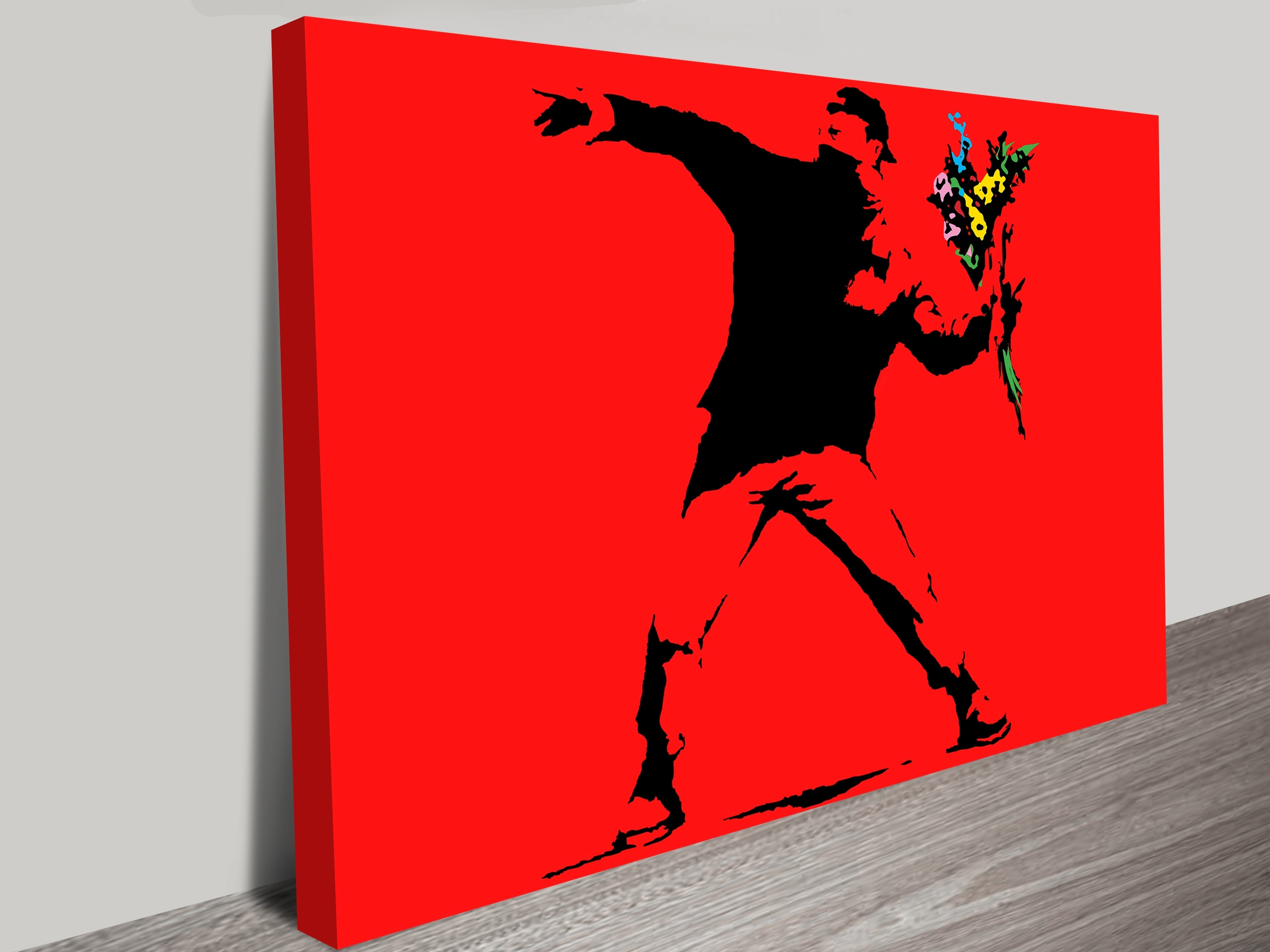 Most Recently Released Banksy Flower Thrower Red Wall Art Print Intended For Red Wall Art (View 8 of 15)