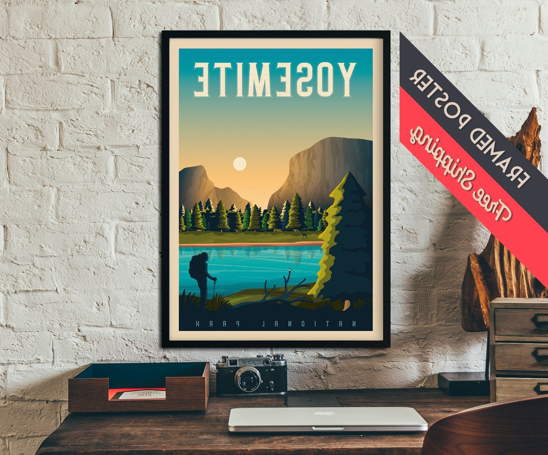 Most Recently Released California Wall Art With Regard To Yosemite National Park Print – California Travel Poster, Framed (View 7 of 15)
