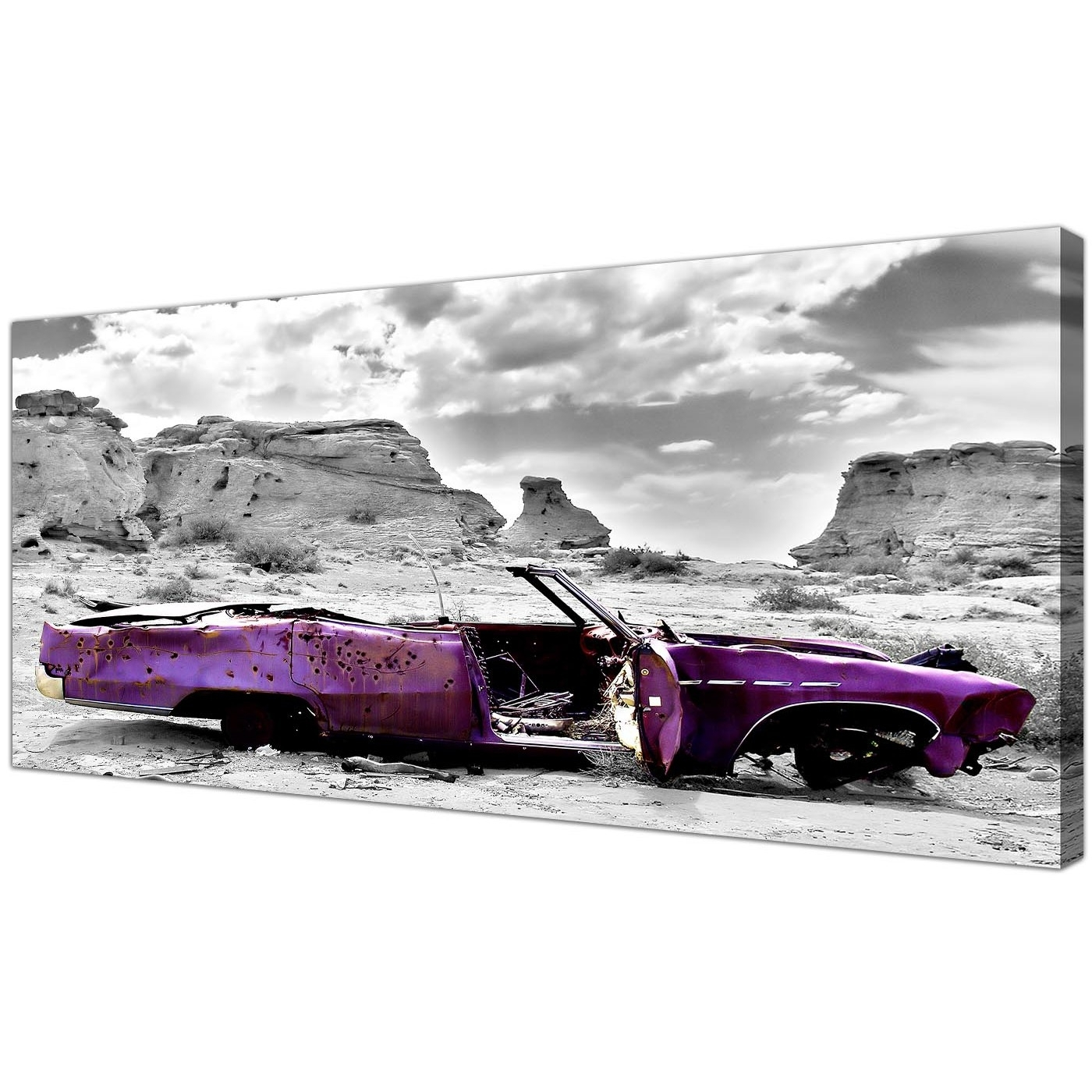 Most Recently Released Car Canvas Wall Art With Modern Black And White Canvas Prints Of A Purple Car (View 10 of 15)