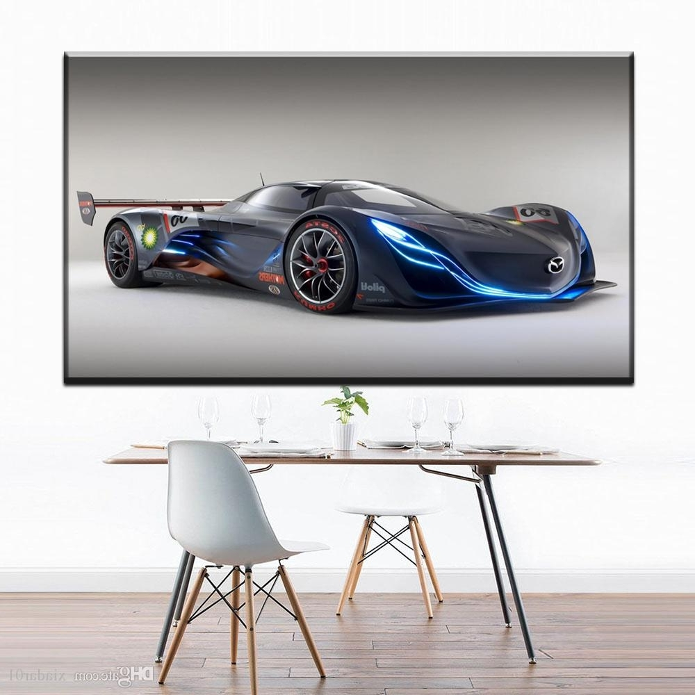 Most Recently Released Car Canvas Wall Art With Regard To 2018 Zz1301 Simple Abstract Canvas Art Blue Sports Car Canvas Wall (View 9 of 15)