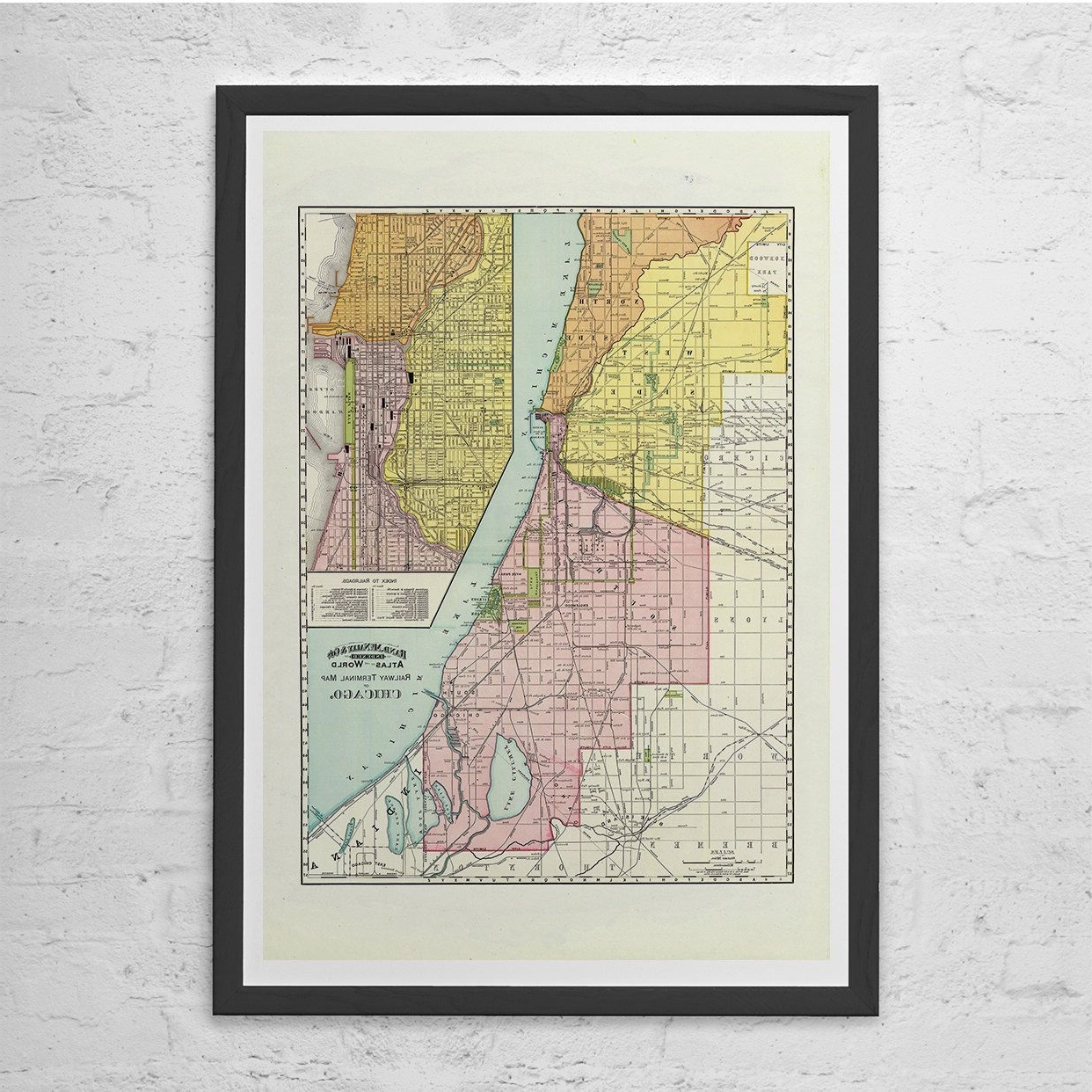 Most Recently Released Chicago Map Wall Art Intended For Retro Chicago Map – Chicago Map Print Chicago Wall Art – Vintage Map (View 3 of 15)