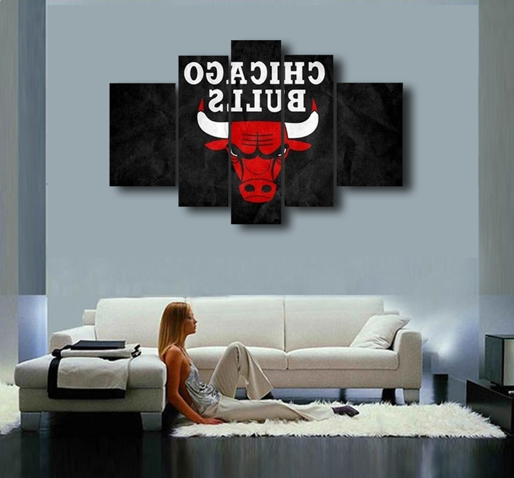 Most Recently Released Chicago Wall Art Inside Chicago Bulls Hand Painted Wall Art Canvas Decoration Abstract Oil (View 10 of 15)