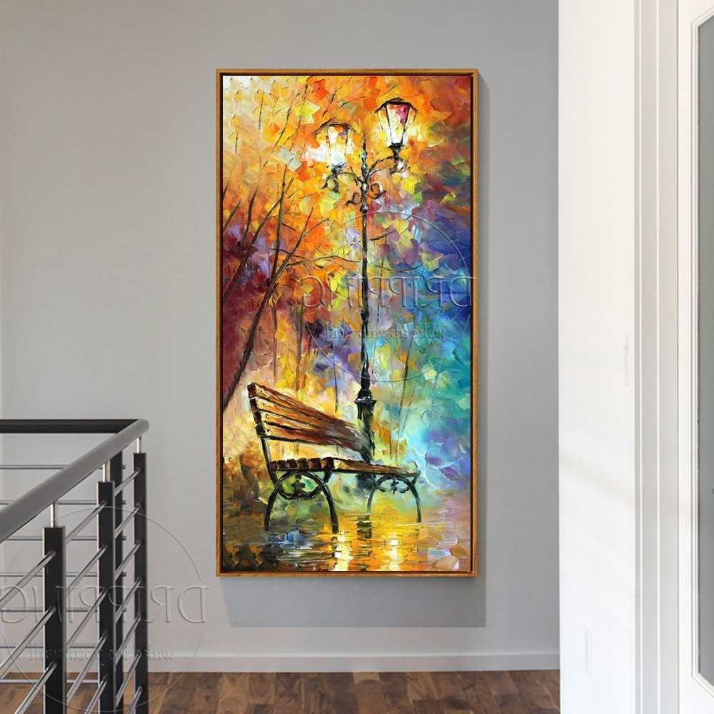 Most Recently Released Colorful Wall Art Throughout Hand Painted Colorful Wall Art Picture Park Bench Oil Painting For (View 11 of 15)