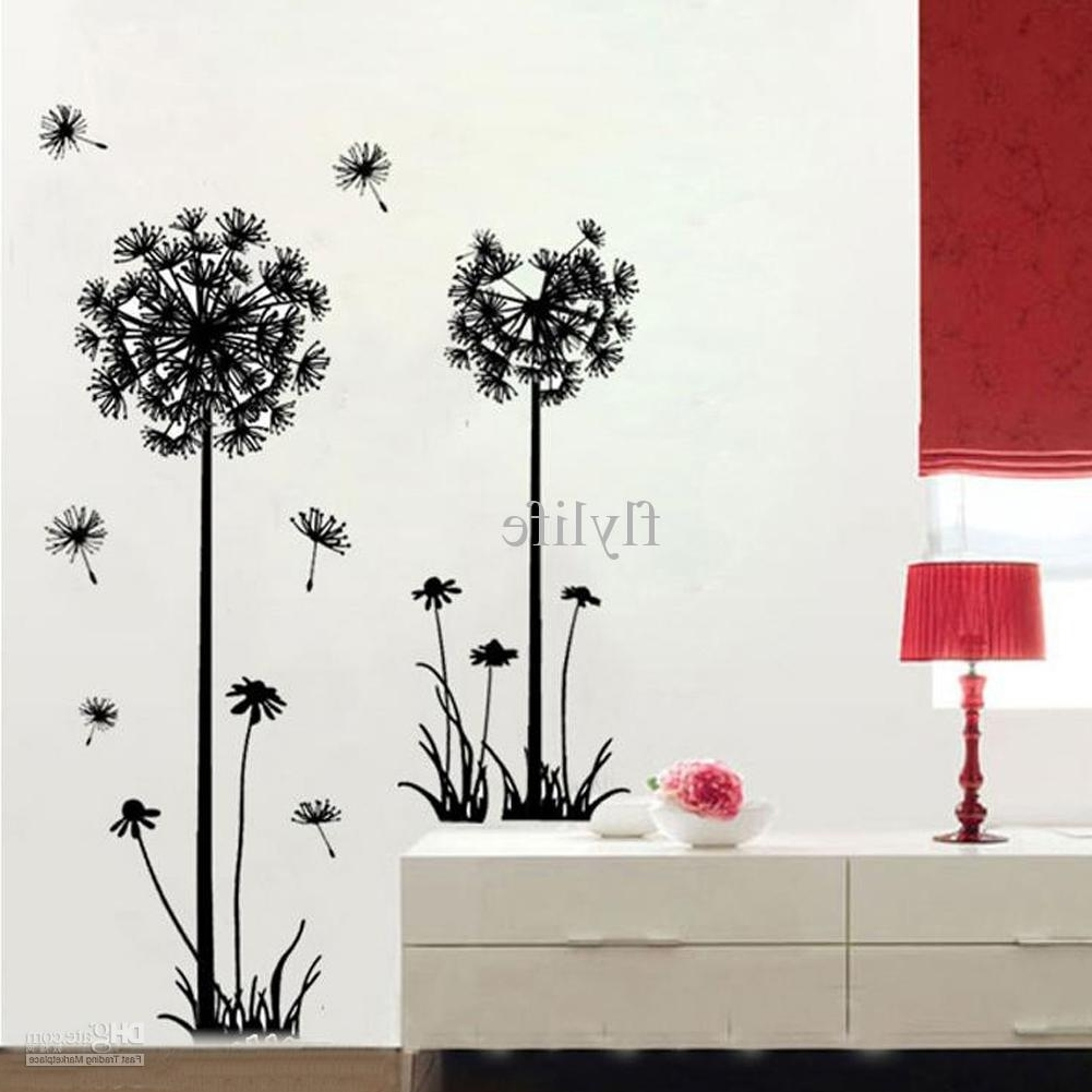 Most Recently Released Dandelion Wall Art With Regard To Large Black Dandelion Wall Stickers, Art Room Decor Wall Decals Peel (View 11 of 15)