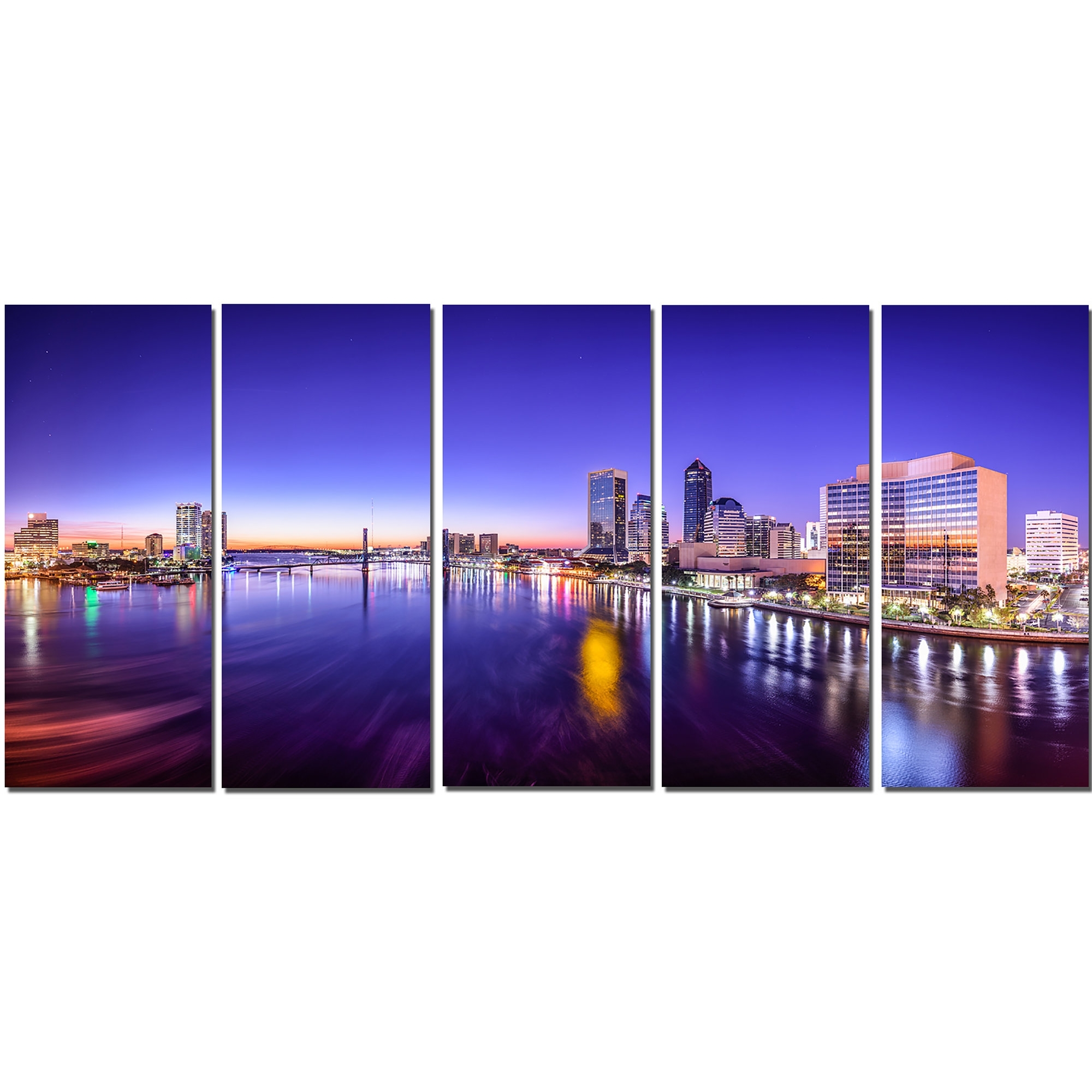 Most Recently Released Designart Jacksonville Florida City 5 Piece Wall Art On Wrapped Regarding Florida Wall Art (View 13 of 15)