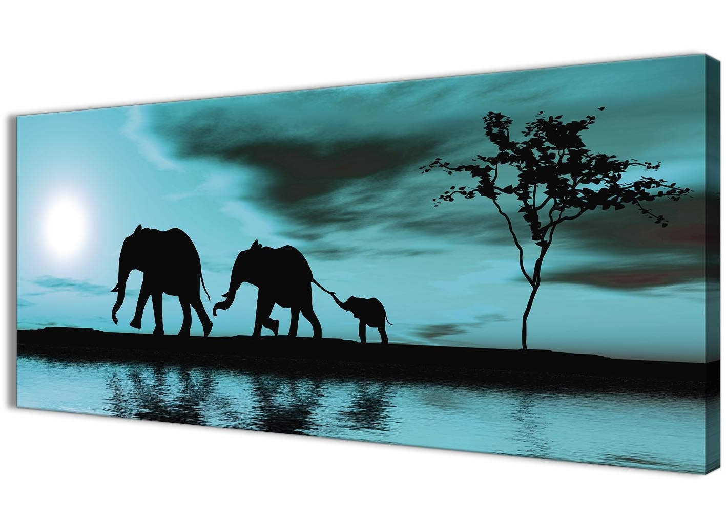Most Recently Released Elephant Canvas Wall Art Throughout Teal African Sunset Elephants Canvas Wall Art Print – Modern 120Cm (View 9 of 15)