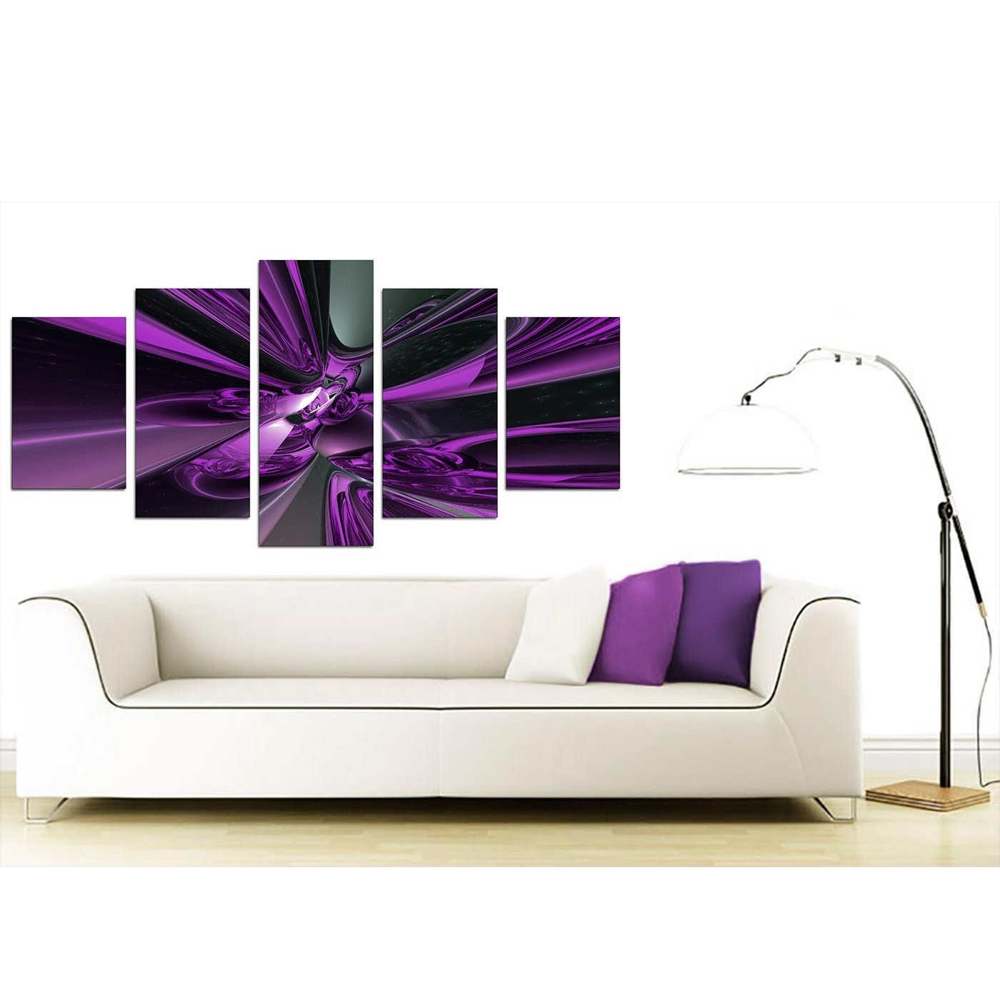 Most Recently Released Extra Large Purple Abstract Canvas Prints Uk – 5 Piece With Regard To Purple And Grey Wall Art (View 4 of 15)