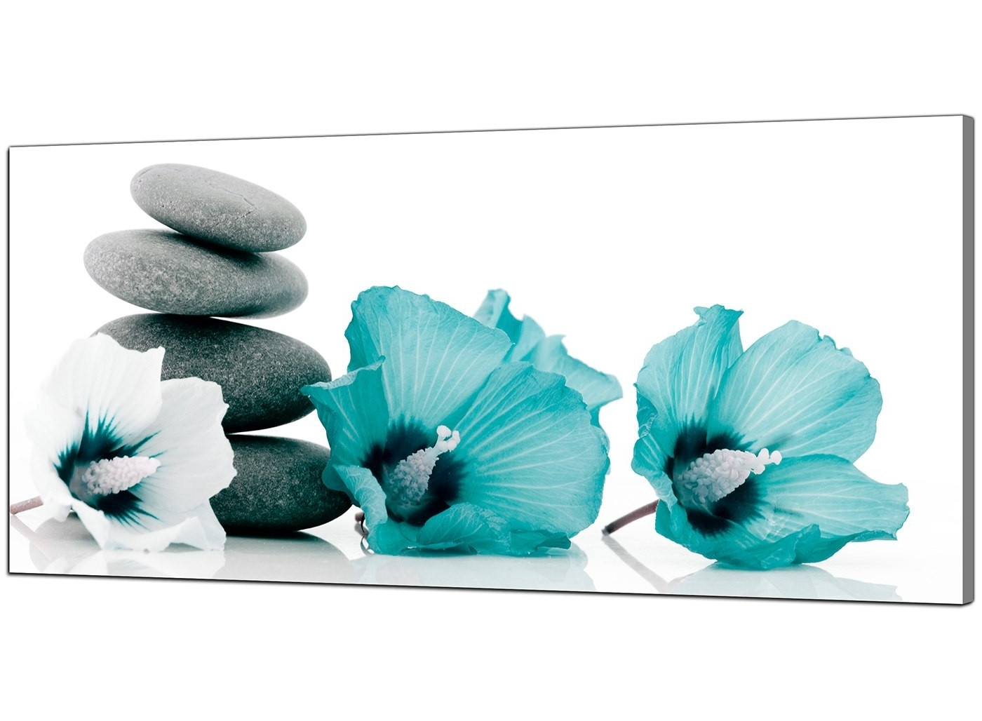 Most Recently Released Large Teal And Grey Canvas Pictures Of Flowers And Pebbles Inside Teal Wall Art (View 3 of 15)
