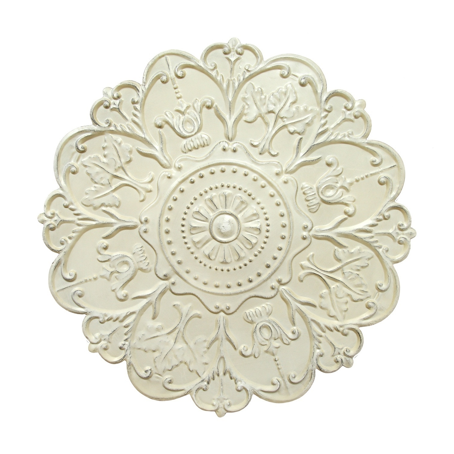 Most Recently Released Medallion Wall Art Within Medallion Wall Art Floral Accent Round Metal Home Decor Shabby White (View 8 of 15)