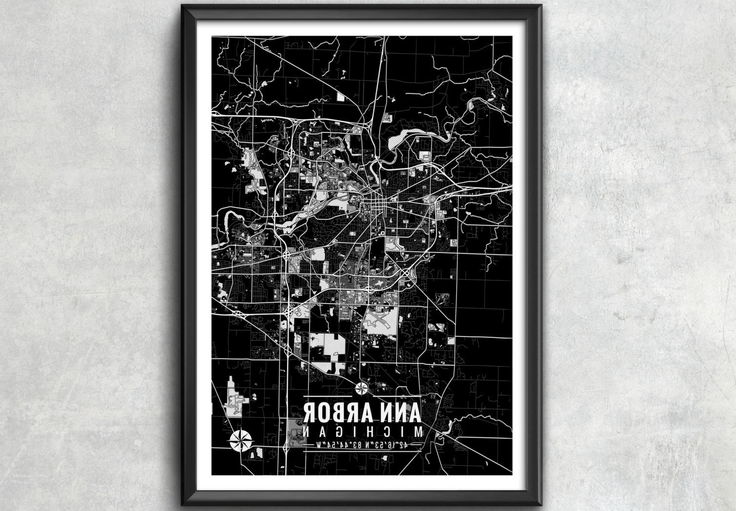 Most Recently Released Michigan Wall Art Regarding Ann Arbor Michigan Map With Coordinates Ann Arbor Map Map Design Of (View 8 of 15)