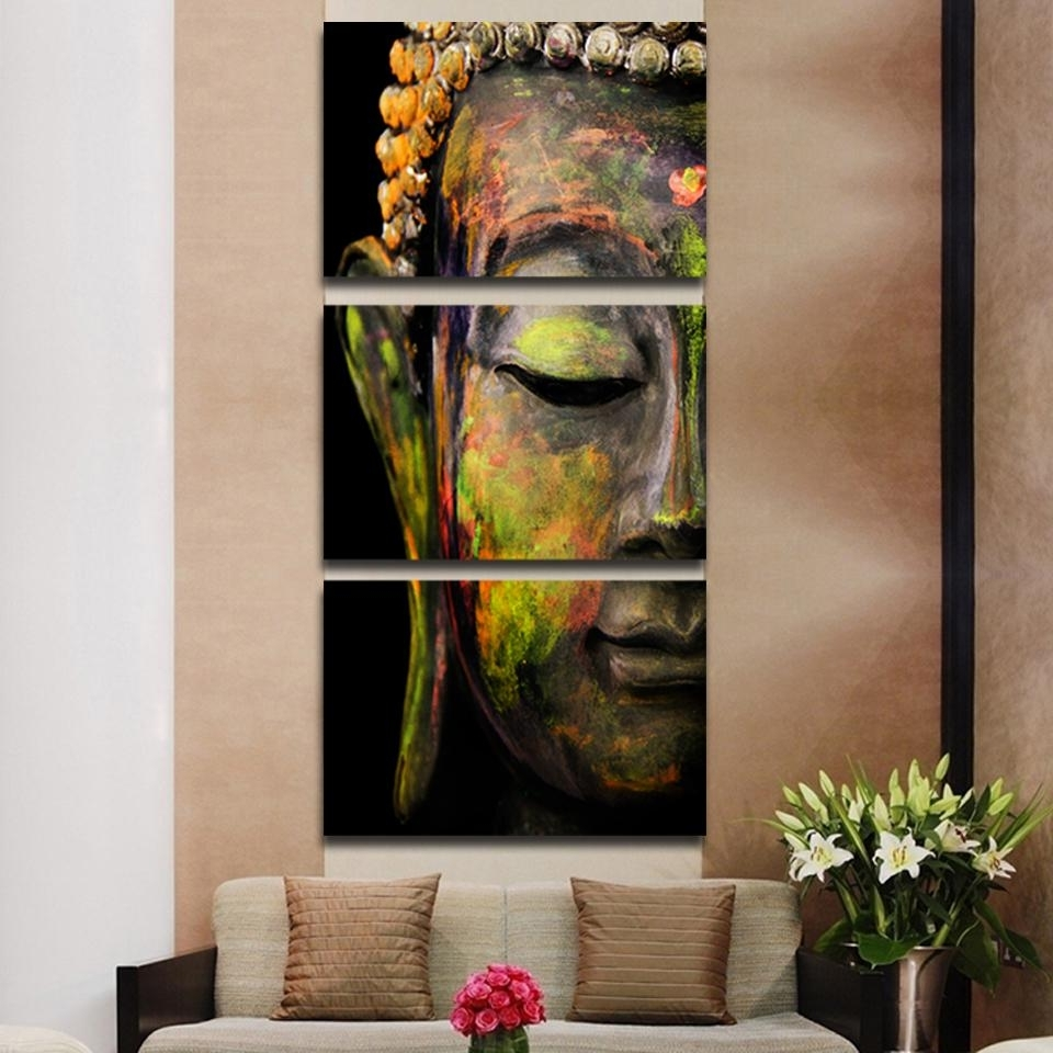 Most Recently Released Modern Framed Wall Art Canvas For Framed 3Pcs Abstract Buddha Modern Home Decor Canvas Print Painting (View 12 of 15)
