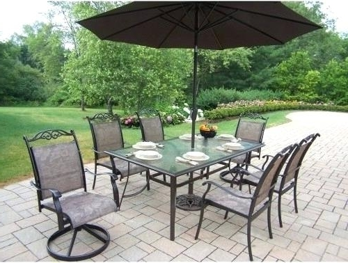 Most Recently Released Patio Table Sets With Umbrellas Intended For Idea Patio Dining Sets With Umbrella For Patio Furniture Dining Sets (View 4 of 15)