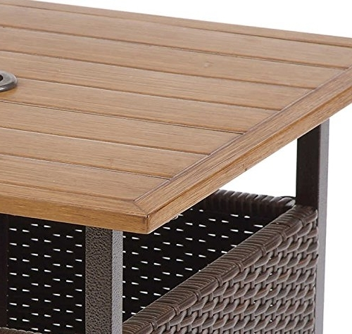 Most Recently Released Patio Umbrella Stand Side Tables With Amazon : Patio Umbrella Stand Wicker And Steel Side Table Base (View 12 of 15)