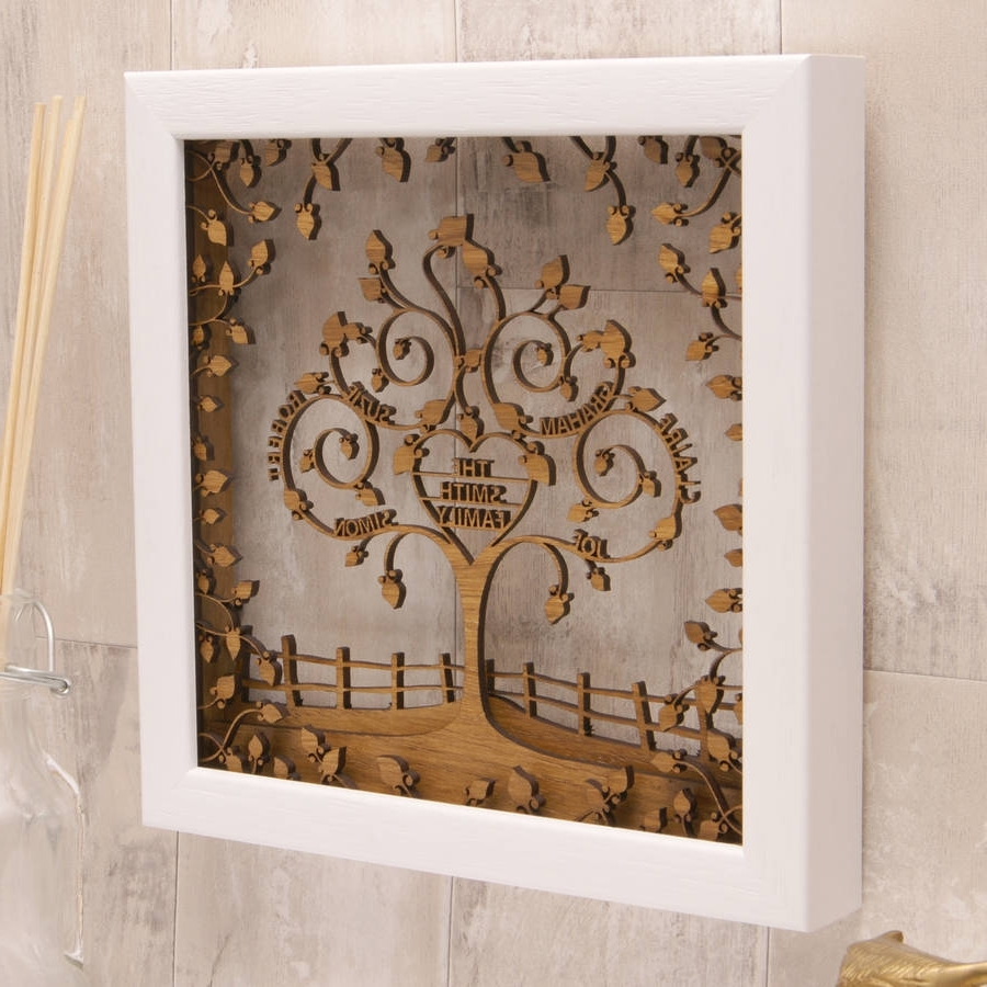 Most Recently Released Personalized Wood Wall Art For Woodworking Design : Personalised Wooden Heart Family Tree Wall Art (View 8 of 15)
