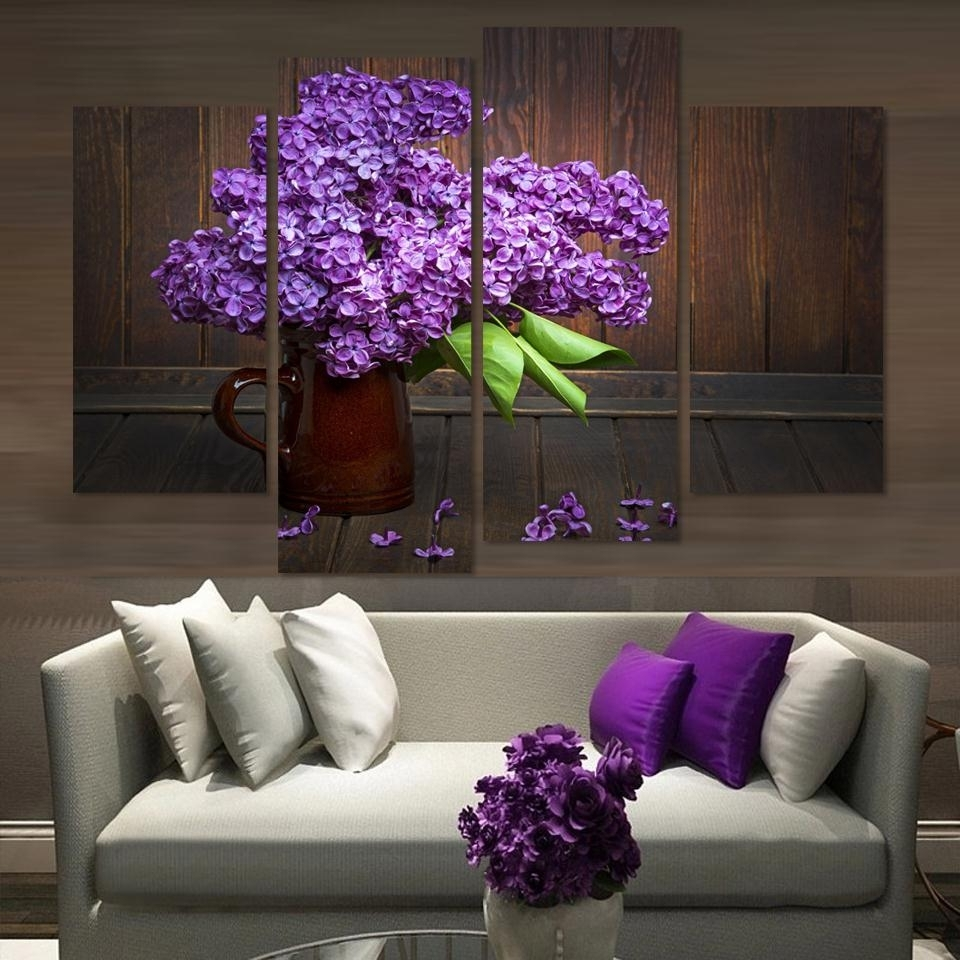 Most Recently Released Purple And Grey Wall Art With Unframed)4 Pieces Modern Home Decor Wall Art Picture For Living Room (View 9 of 15)