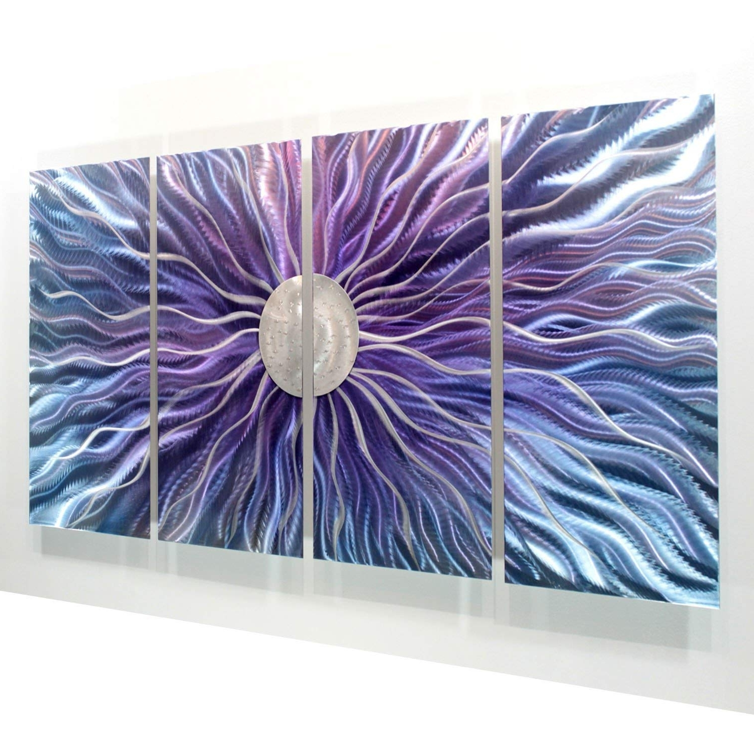 Most Recently Released Purple Wall Art Intended For Amazon: Large Blue, Purple, And Silver Metal Wall Art Painting (View 5 of 15)
