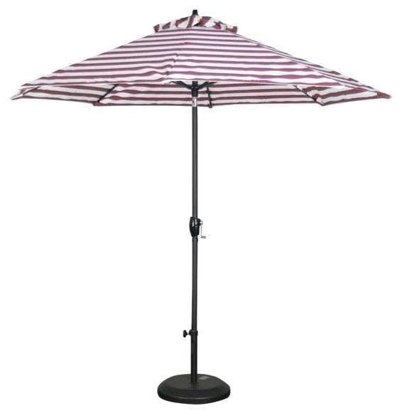 Most Recently Released Red And White Stripe 9 Market Patio Umbrella With Push Outdoor In Striped Sunbrella Patio Umbrellas (View 15 of 15)